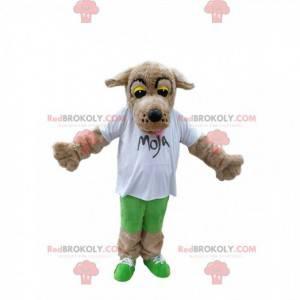 Dotykająca beżowa maskotka psa z białą koszulką - Redbrokoly.com