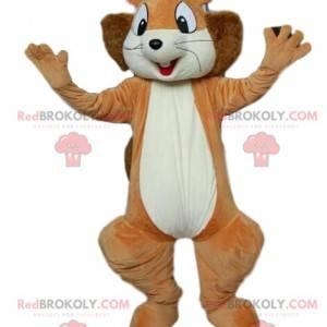 Mascote esquilo super entusiasmado. Traje de esquilo. -