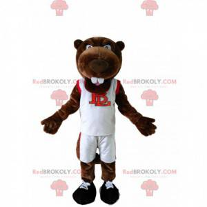 Mascota castor marrón en ropa deportiva blanca - Redbrokoly.com