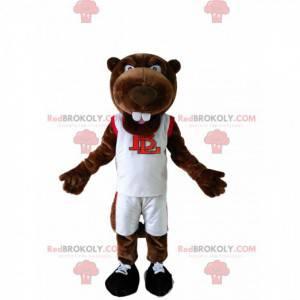 Mascotte castoro marrone in abiti sportivi bianchi -