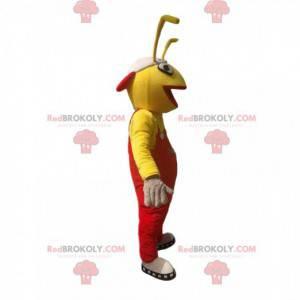 Formiga de mascote amarela de macacão vermelho. Fantasia de
