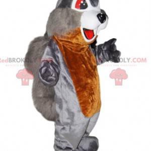Mascote esquilo cinza e marrom, com olhos vermelhos -