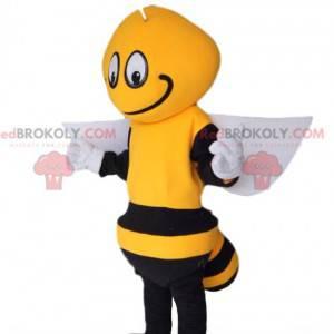 Mascote abelha preta e amarela, com asas brancas -