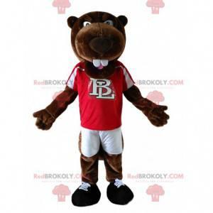 Maskot hnědý bobr s červeným dresem. - Redbrokoly.com