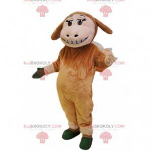 Mascote de ovelha marrom com um belo sorriso. - Redbrokoly.com