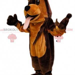 Super funny brown and orange dog mascot. Dog costume -