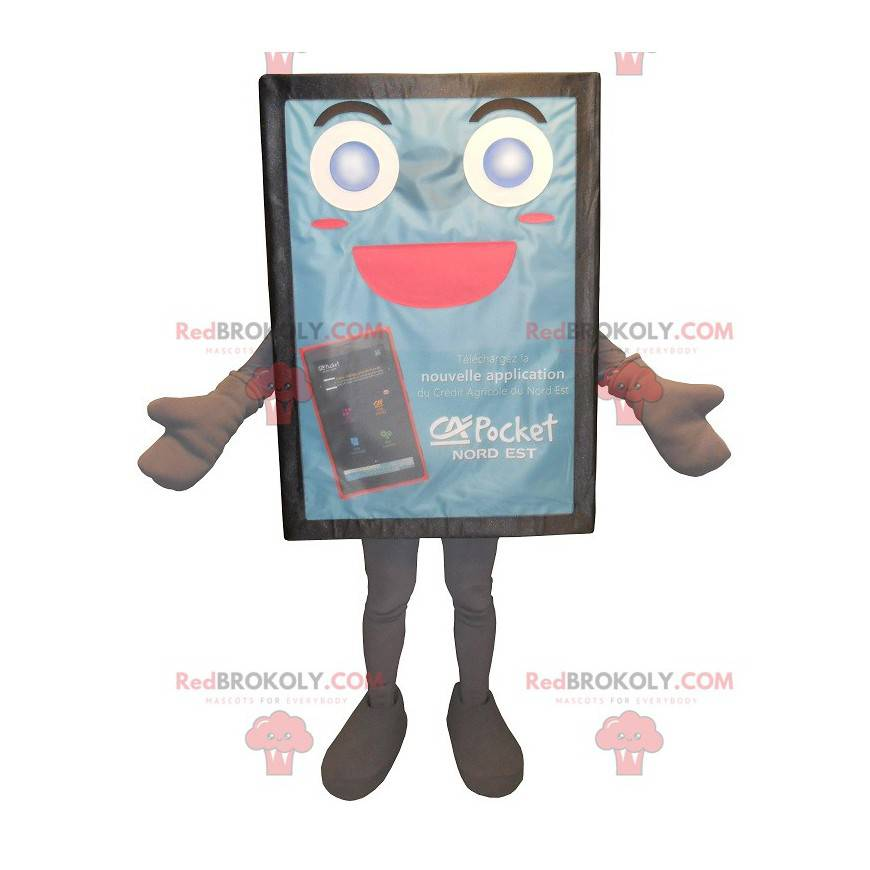Blue and cute advertising billboard mascot - Redbrokoly.com