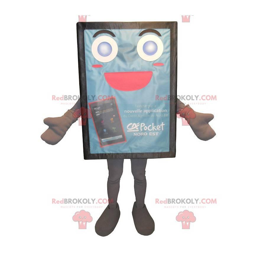 Modré a roztomilé reklamní billboard maskot - Redbrokoly.com