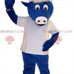 Blue beef mascot, with a white jersey. Beef costume -