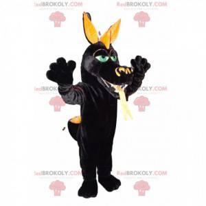 Mascote do dragão negro, com olhos verdes. Fantasia de dragão -