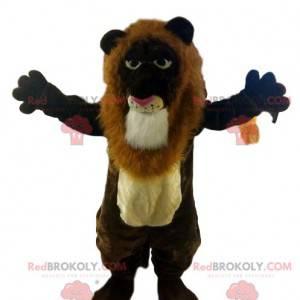 Maskot hnědého lva se skvělou hřívou. Lev kostým -