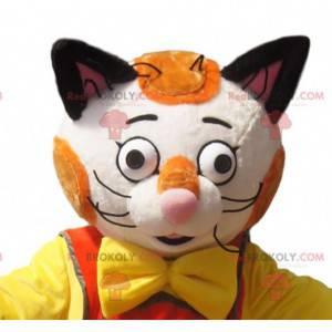 Weißes und rotes Katzenmaskottchen mit braunem Overall -