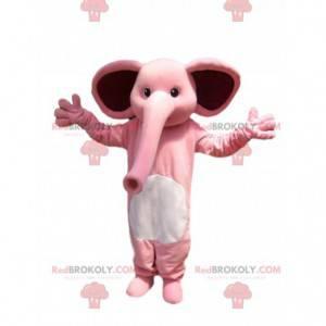 Maskottchen rosa Elefant, mit einem riesigen Stamm. -