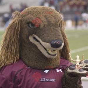 Hnědý chlupatý pes maskot - Redbrokoly.com