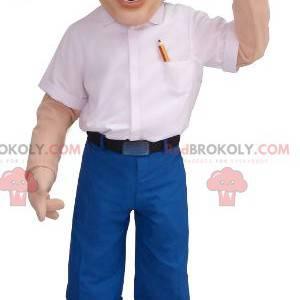 Maskottchen blonder Ingenieur Mann mit Brille - Redbrokoly.com
