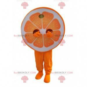 Napůl oranžový maskot. Napůl oranžový oblek - Redbrokoly.com