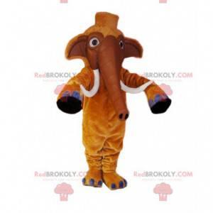 Maskot hnědý mamut s krásnými kly - Redbrokoly.com