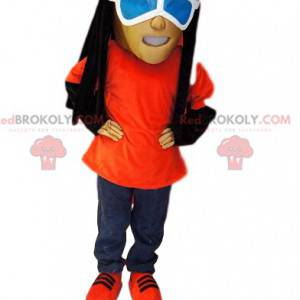 Mascot man in jeans, with rastas and sunglasses - Redbrokoly.com