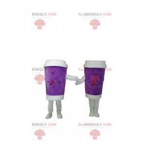 Take-out purple coffee mug mascot duo - Redbrokoly.com