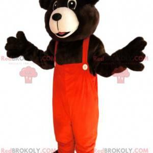 Brun bjørnemaskot med oransje kjeledress - Redbrokoly.com