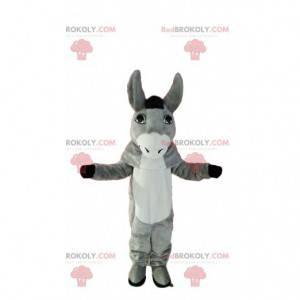 Mascote de burro cinza e branco muito bonito. Fantasia de burro