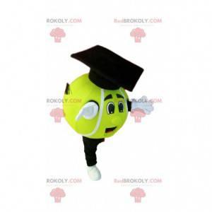 Neon žlutý tenisový míček maskot. Kostým na tenisový míček -