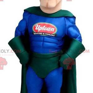 Mascote super-herói em traje azul e verde - Redbrokoly.com