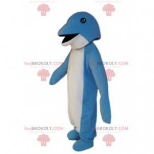 Mascote golfinho azul e branco muito sorridente. Fantasia de