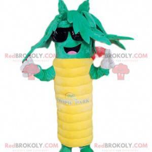 Mascota de palmera verde y amarilla súper feliz. Disfraz de