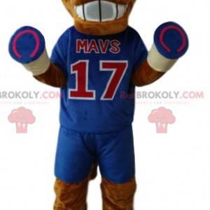 Mascote do cavalo marrom em sportswear azul. - Redbrokoly.com