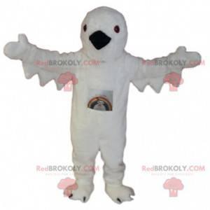 Maskot bílý pták s černým zobákem. Kostým bílého ptáka -