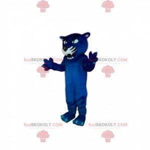 Aggressives blaues Panther-Maskottchen. Panther Kostüm -