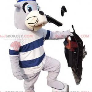 Mascote do selo em traje de marinheiro. Fantasia de foca -