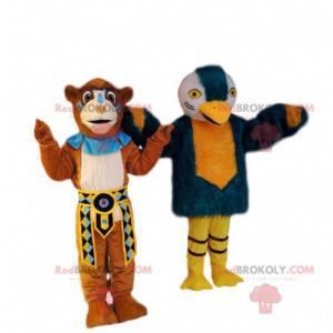 Duo maskota lva a orla v indiánském oblečení. - Redbrokoly.com