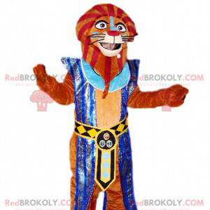 Braunes Löwenmaskottchen im Pharao-Outfit. - Redbrokoly.com