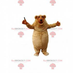 Very happy little plump brown bear mascot. - Redbrokoly.com