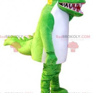 Super divertida mascote crocodilo verde e branco. Fantasia de