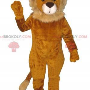 Měkký a chlupatý oranžový a béžový maskot lva - Redbrokoly.com