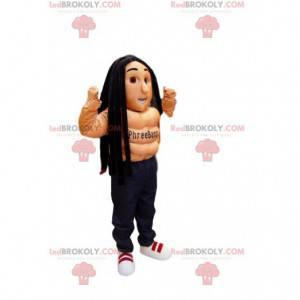 Shirtless sportsmand maskot med rastas - Redbrokoly.com