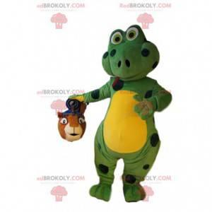 Maskot zelená ještěrka s černými puntíky. Ještěrský kostým. -