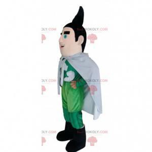 Mascota de superhéroe en traje verde con un puff negro. -