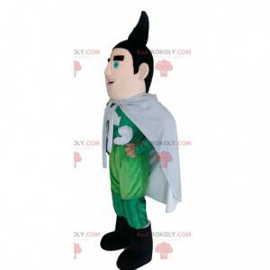Superhero mascot in green outfit with a black puff. -
