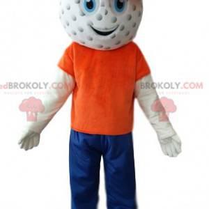 Schneemann Maskottchen mit einem Golfballkopf - Redbrokoly.com