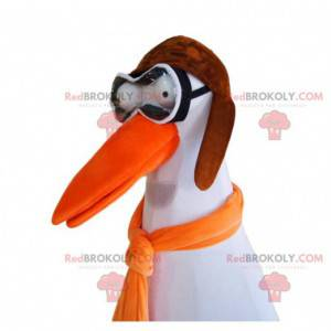 Stork mascot with glasses and an aviator hat. - Redbrokoly.com
