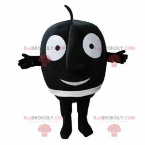 Maskottchen kleiner runder schwarzer Mann mit einer großen Nase