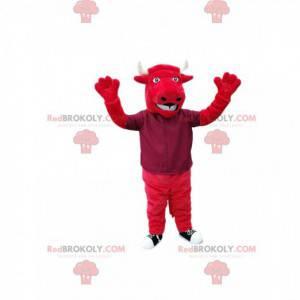 Mascote touro vermelho com grandes chifres brancos. -