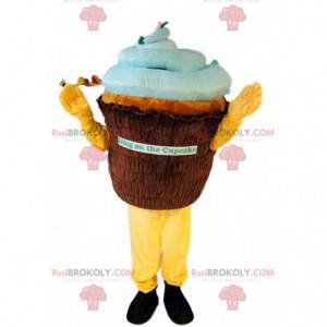 Mascota de cup-cake marrón y azul. Disfraz de cupcake -