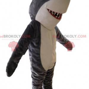 Grå og hvid haj maskot. Haj kostume - Redbrokoly.com
