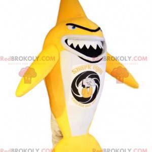 Mascote muito original do tubarão amarelo e branco. Fantasia de