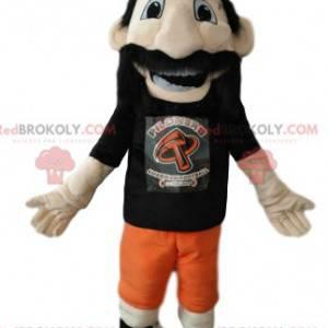 Mascota del hombre barbudo con un casco vikingo naranja -